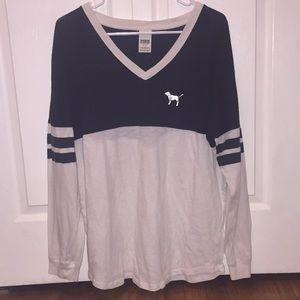PINK Vneck Long-sleeve Shirt